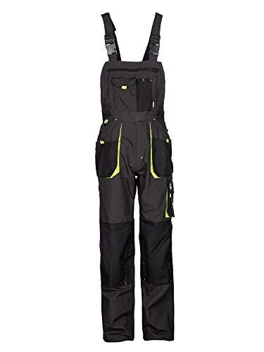 Stenso Emerton® - Pantalones con Peto de Trabajo para Hombre - Resistentes - Gris/Negro/Verde - 62