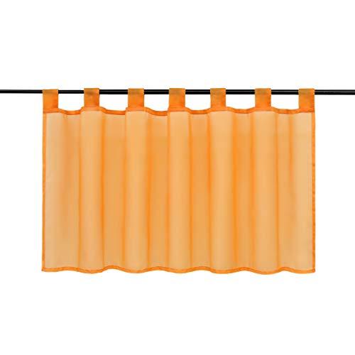 Joyswahl Scheibengardine Voile Bistrogardine »Eva« Unifarbige Kurzstore Transparente Gardine Stores HxB 45x90cm Orange 1er Pack