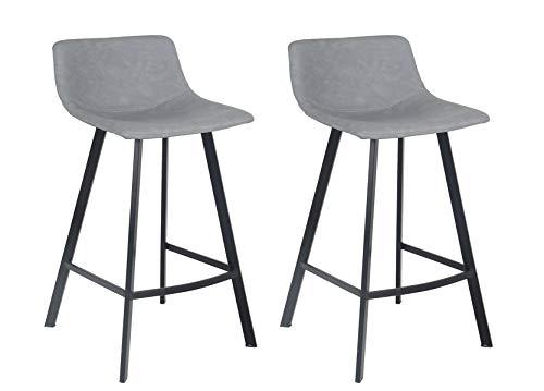 Meubletmoi barkruk, kunstleer, voetensteun, metaal, zwart, hoge stoel, industrieel design, comfortabel, 2 stuks grijs.