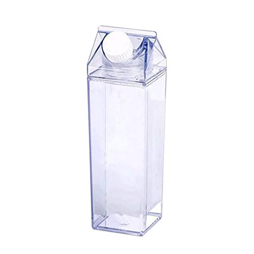 Cartón De Leche Cartón De Agua Botellas De Plástico Transparente Cuadrado De La Leche Estancos Jugo Portátil De La Diversión Con Estilo Plástico Leche Caja Reutilizable Para La Copa Al Gimnasi