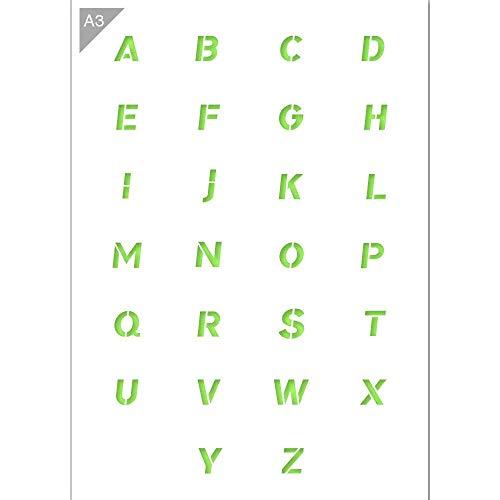 Alfabeto cursiva diseño de letras mayúsculas–plástico–A342x 29,7cm–PINTURA, manualidades, pared, muebles plantilla–Carta altura 2cm–reutilizable Kids friendly