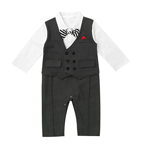TiaoBug Baby Jungen Langarm Strampler Body Anzug Weste Kentkragen Hemd mit Fliege Lange Hose Pants Gentleman Kostüm Sakko Smokings Taufe Party Schwarz B 74-80