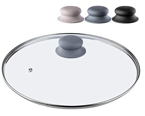 KADAX Coperchio in vetro con manico in silicone resistente al calore per pentole, coperchio con asola a vapore, coperchio universale in diverse misure, coperchio leggero rotondo (30 cm, grigio)