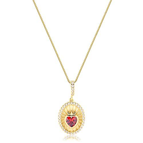Colar com medalha e coração de zircônia vermelho folheado em ouro 18k