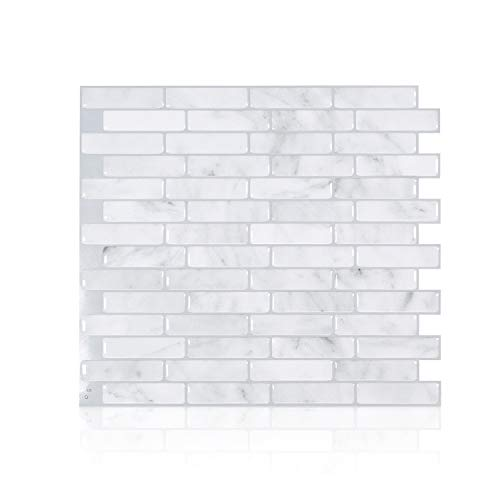Smart Tiles Self Adhesive Wall Tiles - Milenza Bari - 4 Sheets of (25.91cm x 22.86cm) (10.20' x 9.00') Kitchen and Bathroom Stick on Tiles - 3D Peel and Stick Backsplash