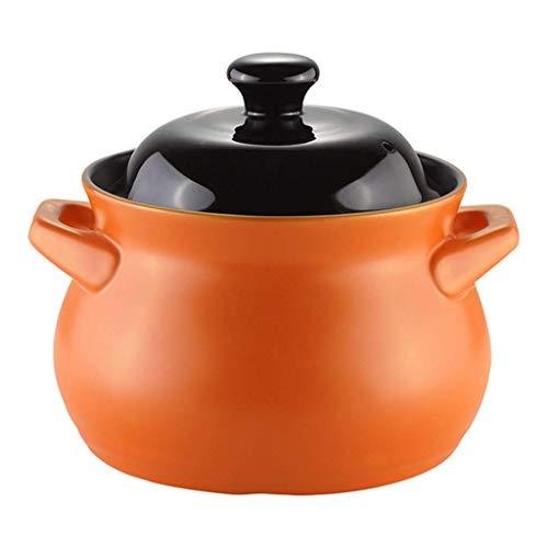 weiwei Pot à ragoût en céramique cocotte Ronde en céramique avec Couvercle marmite à Soupe antiadhésive de Grande capacité Pot en Argile de santé cuiseur à Riz en faïence pour la Famille C 3.8l