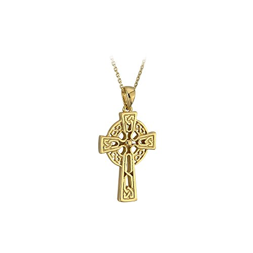 Solvar Gold Celtic Cross 10K Double Sided Made in Ireland