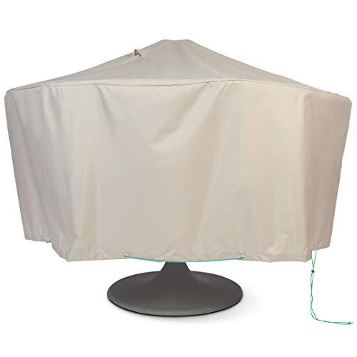 Cov'Up Housse de Protection pour Table de Jardin Ronde Diamètre 160 cm x Hauteur 60 cm, Taupe