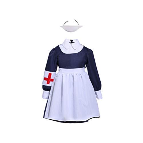 Traje de Cosplay de Enfermera para Niños Bata de Laboratorio Traje de rol Infantil con Delantal (Talla S)