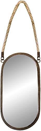 Busirsiz Espejo de maquillaje Retro hierro de pared Espejo colgante con cuerda de cáñamo Redondo Cuarto de baño Decorativo Espejos Creativos Maquillaje Afeitado Metal Espejos 21 × 63 cm Espejo decorat