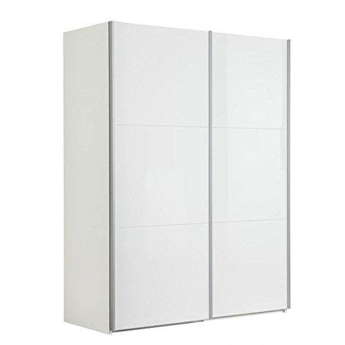 AVANTI TRENDSTORE - Armadio con ante scorrevoli bianco splendente d'imitazione, ca. 151x200x63,5 cm