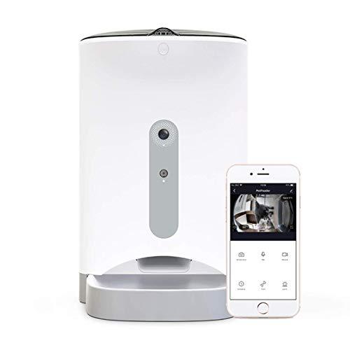 Comedero para Perros Cámara Inteligente WiFi con Audio bidireccional de 4,3L, Funciona con Amazon Alexa y Google Home dispensador de Comida, visión Nocturna, App Smart Life