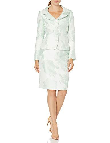 Tahari ASL Women's Nested 4 Button Jackeet and Pencil Skirt, Green Floral Jacquard, 6