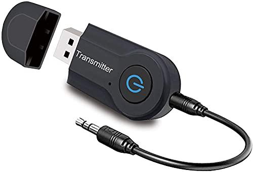 Ransmisor Bluetooth,Transmisor Bluetooth 5.0 de Audio Portátil Inalámbrico para Dispositivos de 3.5 mm Adaptador de Audio para TV, PC,Sistema Estéreo Doméstico USB Baja Latencia, Plug and Play