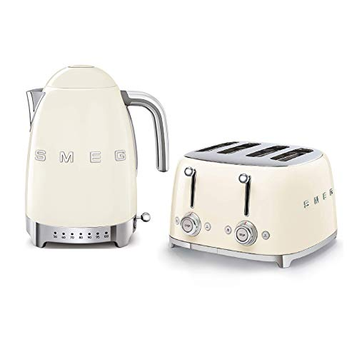 Smeg KLF04CRUK 1.7Ltr Variable Temperature Controlled Kettle and TSF03CRUK 4 Slice Toaster in Retro Cream