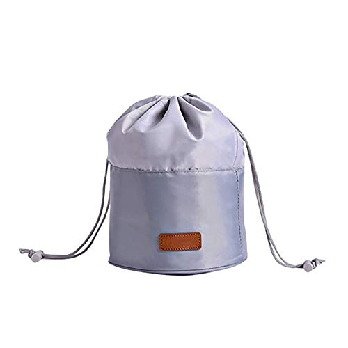 Portable Drawstring Makeup Bag Large Capacity Barrel Shaped Toiletry Wash Bagssuitable for Travel Holiday Gym Large for Women and Girls(Grey)