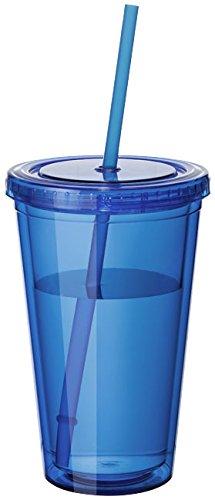 Plastikbecher Mehrweg doppelwandig Tasse Becher Deckel mit Mehrweg Strohhalm Smoothie Saft Kaffee Eiskaffee