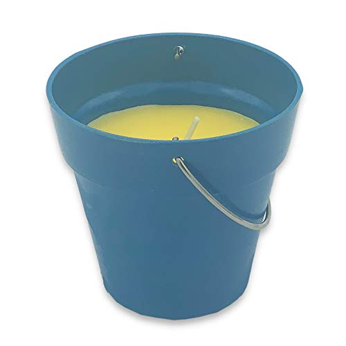 ABRUS Small Citronella Candle in a Bio Pot | Perfect Decor for Outdoors Parties, Reiki or Spa (Blue)