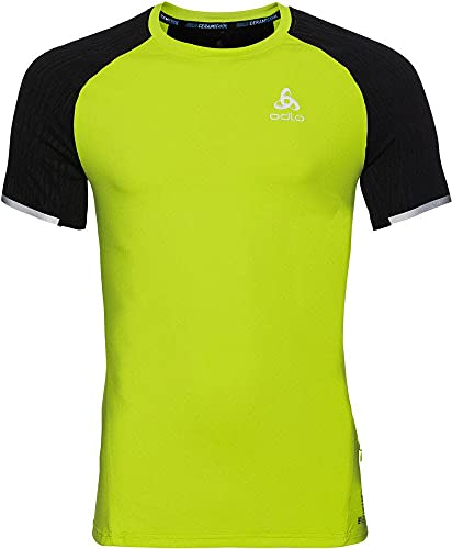 Odlo Zeroweight Ceramicool BL Top CN SS Pull sans Manche, Multicolore (Acid Lime/Black 40224), Large Homme