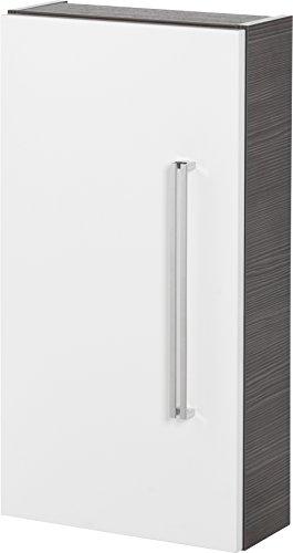 FACKELMANN Hängeschrank Lugano/mit Soft-Close-System/Maße (B x H x T): ca. 35 x 68 x 16 cm/hochwertiger Schrank fürs Bad/Türanschlag Links/Korpus: Grau/Front: Weiß/Breite 35 cm