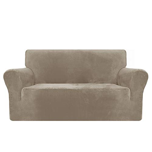 MAXIJIN Thick Velvet Sofa Covers 2 Seater Super Stretch Non Slip Loveseat Covers for Living Room Dogs Cat Pet Plush Love Seat Couch Slipcovers Elastic Furniture Protector (2 Seater, Khaki)