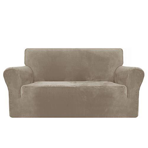 MAXIJIN Copridivano in velluto spesso Copridivano per divano a 2 posti Super elasticizzato per soggiorno Cani Gatto Pet Peluche Coprisedile Divano Coprivaso (2 posto, Cachi)