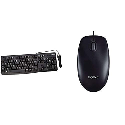 Logitech K120 Tastiera Cablata Business per Windows/Linux, USB, Tasti Silenziosi & M90 Mouse USB Cablato, 1000 DPI, Mouse Ambidestro, Compatibile con PC/Mac/Laptop, Nero