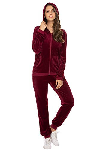 Hotouch Women's Warm Up Suits Set Athletic Soft Velour Zip Up Hoodie and Sweat Pants Wine Red M