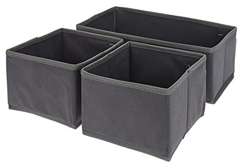 3-tlg Set Organizer Schrankorganizer Aufbewahrungsboxen Stoffboxen, faltbar, für Kleiderschrank, Kommode, Accessoires, Kosmetik, Spielzeug, grau