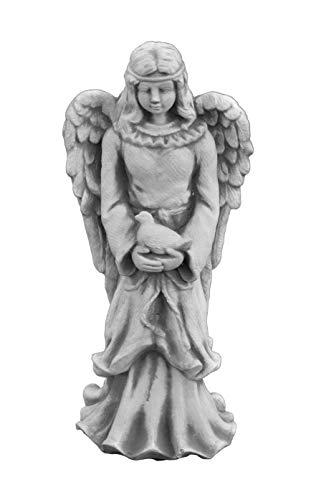 gartendekoparadies.de Liebevolle Engel Figur mit Taube aus Steinguss, frostfest Grabdeko
