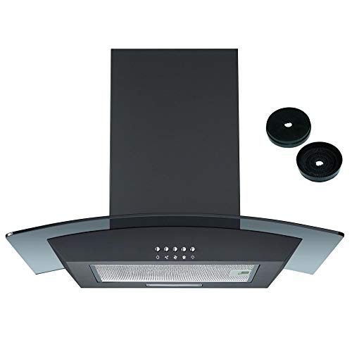 Cookology CGL600BK 60cm Curved Glass Chimney Cooker Hood in Black with Filters