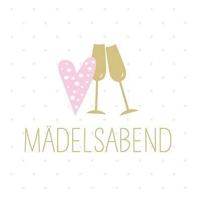 Servietten Mädels-Abend Herz Sekt-Gläser Tisch-Deko Geschenk-Idee Feier Fest Party weiß/rosa/Gold, 33x33cm, 20 Stück-Pack