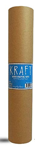 """Kraft Brown Wrapping Paper Roll 48"""" x 1,800"""" (150 ft) – 100% Recyclable Craft Construction and Packing Paper for Use in Moving, Bulletin Board Backing and Paper Tablecloths"""
