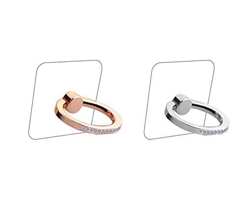lenoup - Soporte de anillo para teléfono celular, transparente, transparente, anillo de agarre para teléfono celular, anillo transparente con soporte de agarre para dedo de diamante (plata/oro rosa)
