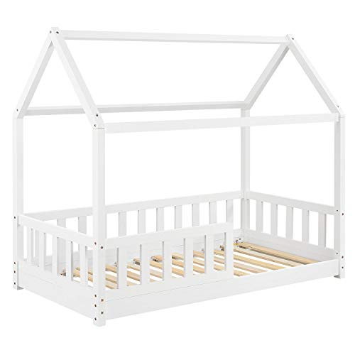 ArtLife Kinderbett Marli 80 x 160 cm mit Rausfallschutz, Lattenrost und Dach - Hausbett für Kinder aus Massivholz - Bett in Weiß