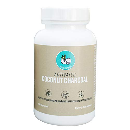 Activated Charcoal Capsules by Crowne Life – 600 mg Detox, Gas Relief, Teeth Whitening, Bloating, Digestive System, Vegan, Hangover Cure/ Prevention, Active Coconut Charcoal 100 Count