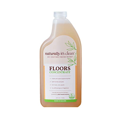 Naturally It s clean Natural Floor Cleaner, 24 Gallons of Rinse-Free Plant-Based Multi-Surface Cleaner and Odor Remover for All Floor Types   Safe as Wood Floor Cleaner   24 Fl Oz Concentrate (6 Pack)
