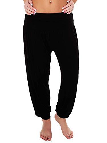 Love My Fashions Womens Pants Trousers Alibaba Harem Ankle Cuff, Plain - Black, Small/Medium