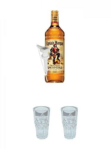 Captain Morgan Spiced Gold Jamaika 3,0 Liter + Dosierpumpe für 3,0 Liter + Captain Morgan Captain & Cola Glas + Captain Morgan Captain & Cola Glas