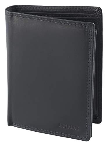 Empire RFID Herren Lederbörse aus echtem Leder Männer Geldbörse Hochformat Herrengeldbörse schwarz