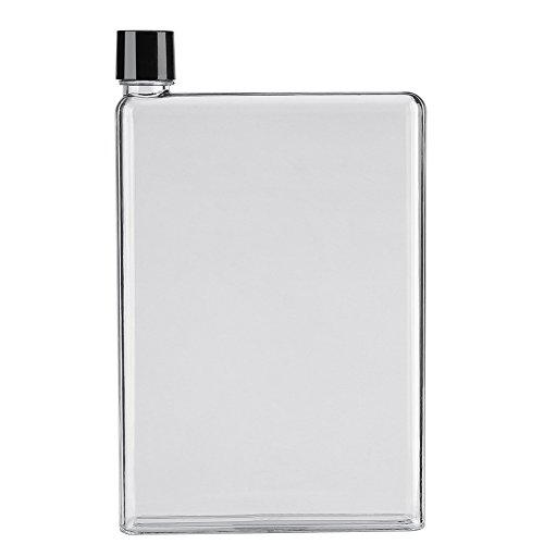 Botella de agua, botellas de agua planas a prueba de fugas de 750 ml Botellas de jugo transparentes portátiles de plástico para su mochila, mochilas, maletín, bolso(Blanco)