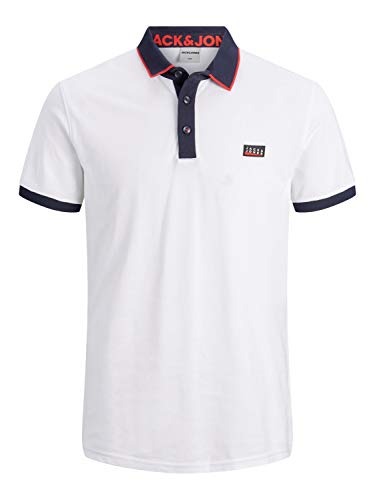 JACK & JONES Mens JCOCHARMING SS NOOS Polo Shirt, White, XL