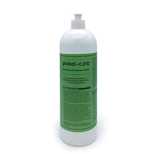 GLOBAL-C210 Desinfectante Virucida Bactericida Fungicida Profesional Superficies y Antiséptico Manos, Autorizado D.G.S.P. Recomendado por la OMS, 1 Litro (1000ml.)