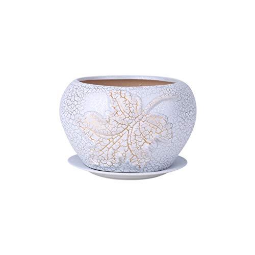 CBing-Indoor decoraties Witte Bloempot, Koffie Tafel TV Kabinet Decoratieve Ornamenten Orchidee Pioen Keramische Bloempot Crack Geglazuurd Oppervlak