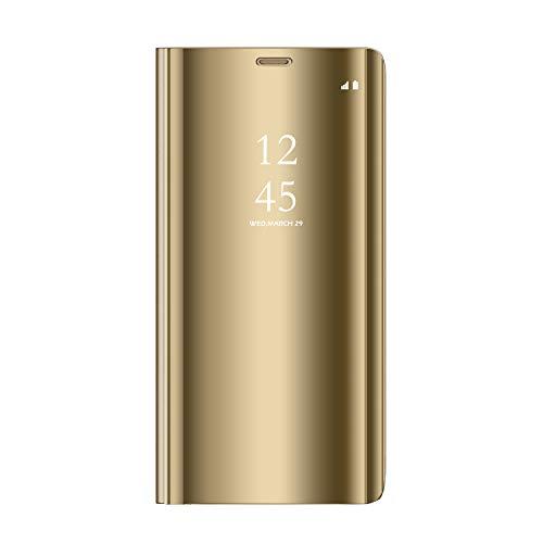 Sunrive Kompatibel mit Oppo F3 Plus/A77 Hülle,Schutzhülle Spiegel Transparent Hülle Handyhülle Schalen Handy Tasche Etui Cover Flip Handytasche(027 Gold) MEHRWEG