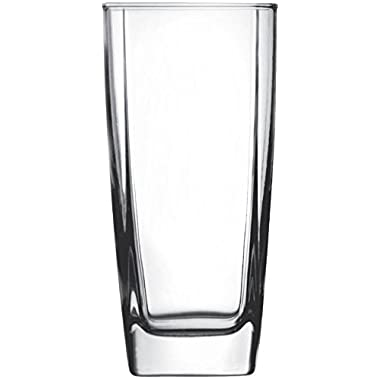 Circleware 10130 CG Society Ice Cube Square Glasses, 17 Ounce, Set of 4, Limited Edition Glassware Drinkware Drink Cups/Coolers, Cube 17 oz
