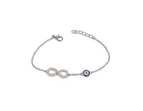 Remi Bijou - Wunderschönes Armband - Infinity Unendlichkeit Ewige Liebe – Silber Farbe – Evil Eye blaues Auge Geschenk romantisch