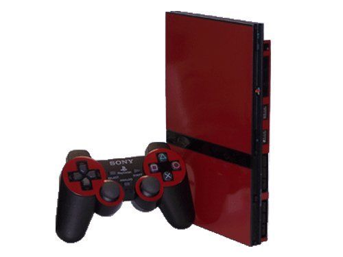 Bold Burgundy Vinyl Decal Faceplate Mod Skin Kit for Sony PlayStation 2 Slim (PS2 Slim) Console by System Skins