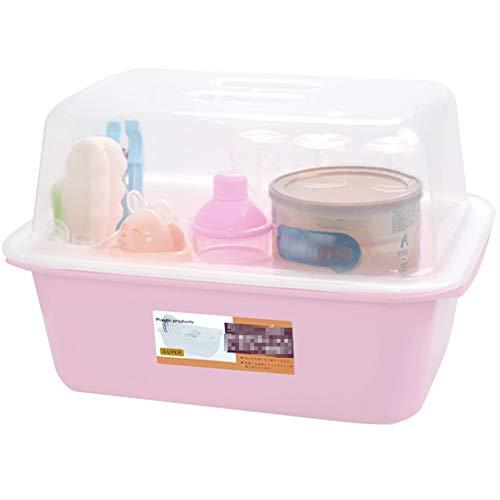 OLizee Baby Bottle Drying Racks with Cover Large Nursing Bottle Storage Box Baby Dinnerware Organizer Light Pink