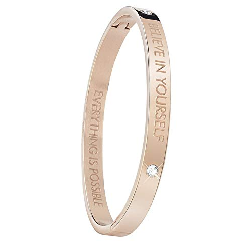 Guess - Rotvergoldeter Bangle-Stahlarmreif Text: Believe.